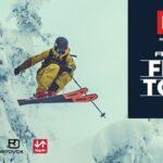 Freeski kjører. Bilde av en Fri Flyt Film Tour plakat.
